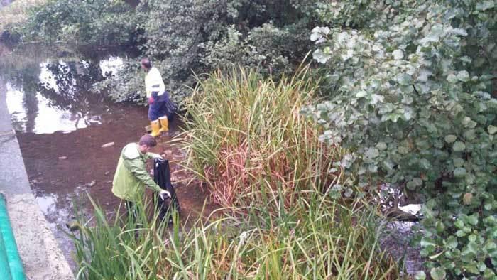 Limpiando el río Noreña.