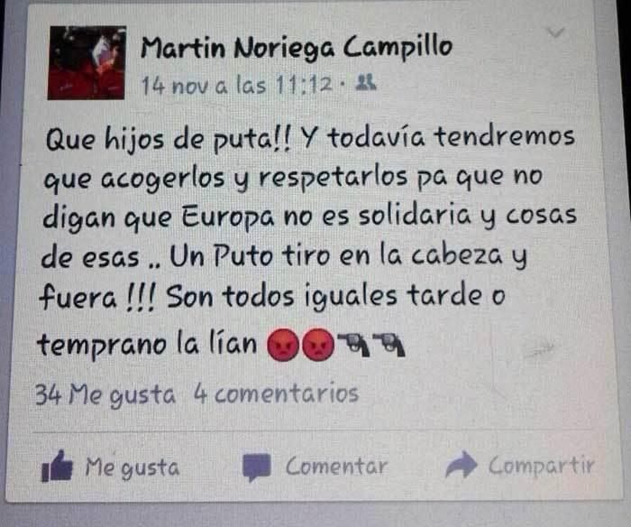 """Dimite Martín Noriega Campillo, concejal del PP de Panes que pidió """"un puto tiro en la cabeza"""" para los refugiados"""