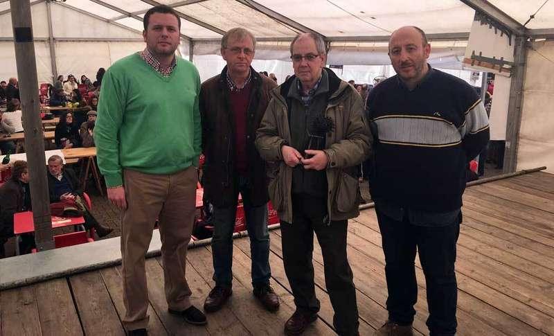 Riestra, Menéndez, García Ramos y López, en Huerres.