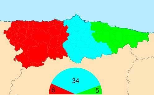 Reparto actual de diputados en Asturias.