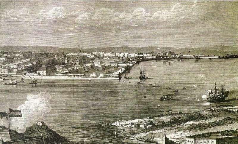 El Ferro, en La Coruña, foto del puerto, del siglo XIX