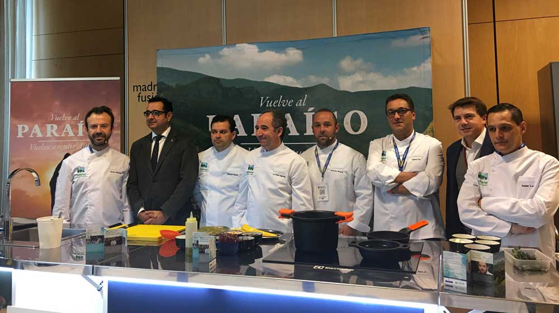 Los Alimentos del Paraíso y los cocineros Michelin promocionan Asturias en Madrid Fusión