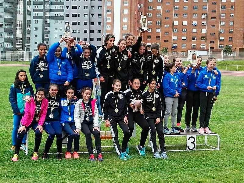 Las infantiles del Atletismo Ciudad de Lugones se proclamaron Campeas de Asturias por equipos