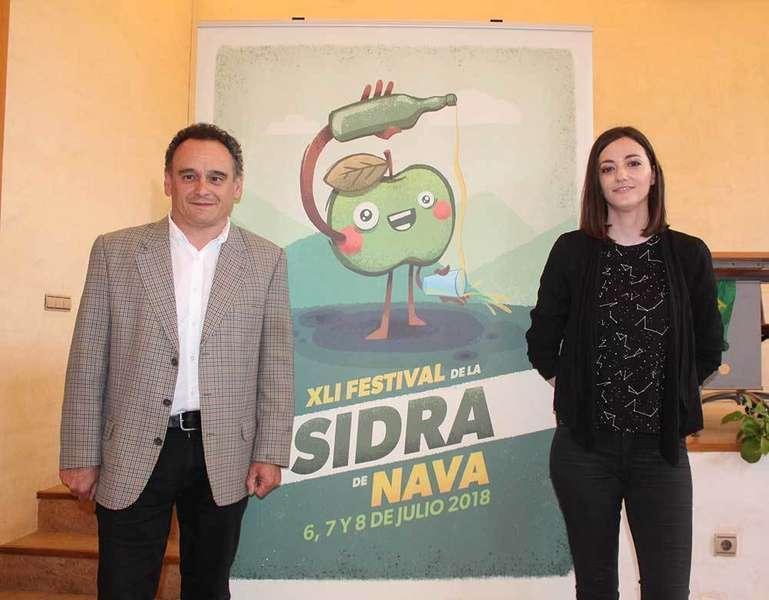 Nava presenta el cartel del XLI Festival de la Sidra obra de Lucía Astuy