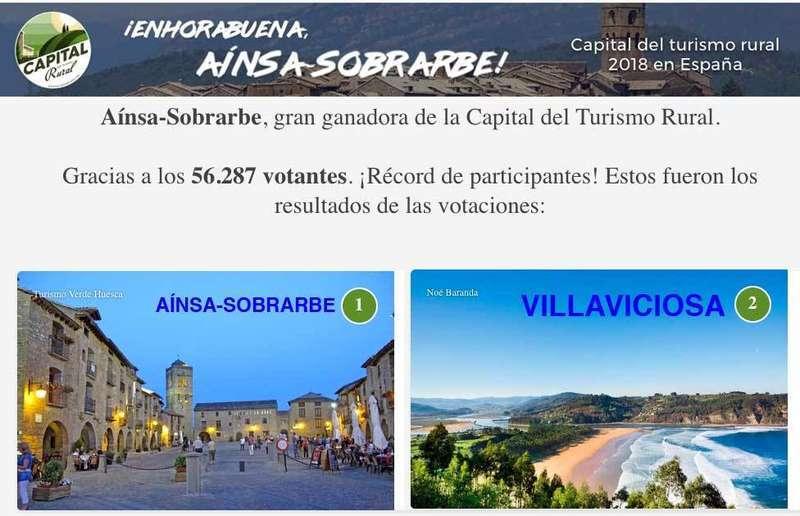 Villaviciosa quedó la segunda en la votación de la Capital del Turismo Rural de España