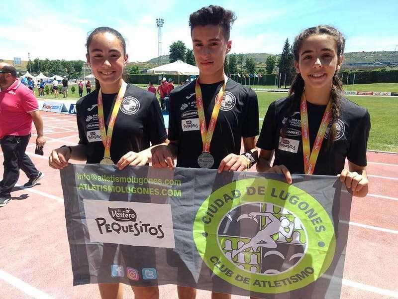 El Atletismo Ciudad de Lugones consigue cinco medallas en el Nacional Infantil y Nacional sub 16