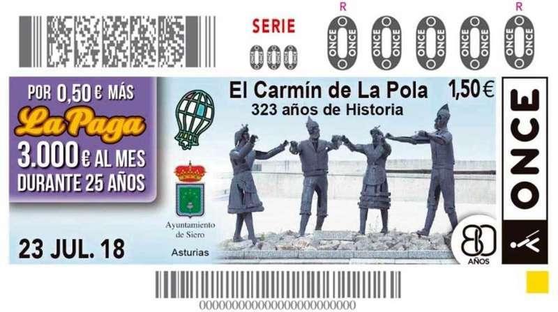 El Carmín de La Pola protagonizará el cupón de la ONCE del 23 de julio
