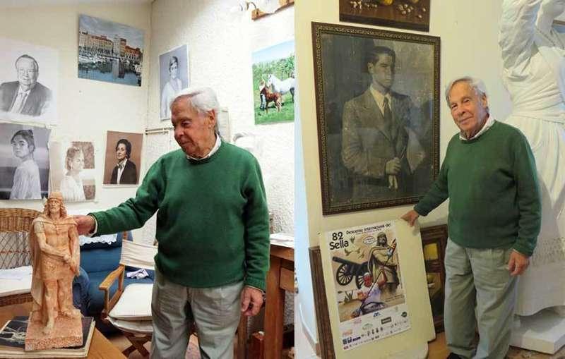 Félix Alonso, piloñés, es el autor de la estatua de Don Pelayo que protagoniza el cartel del Sella