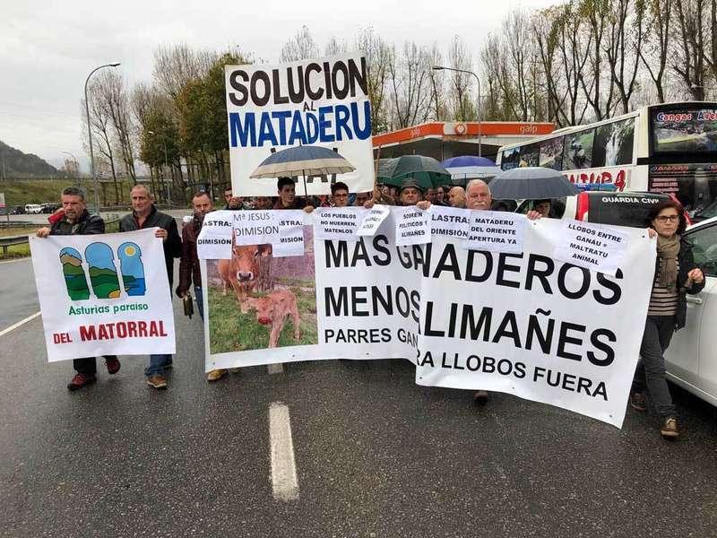 Protesta de los ganaderos en Arriondas