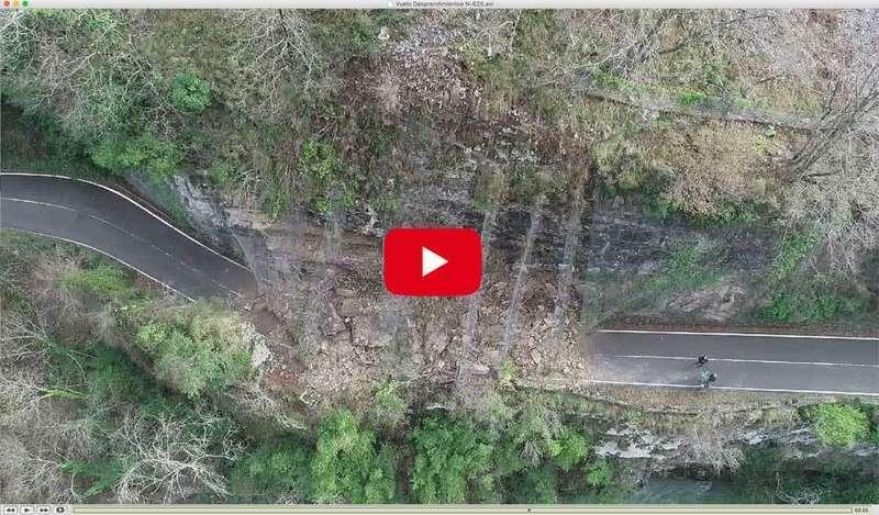 VÍDEO Imágenes del dron del Ministerio de Fomento que sobrevoló el argayo del Desfiladero Los Beyos