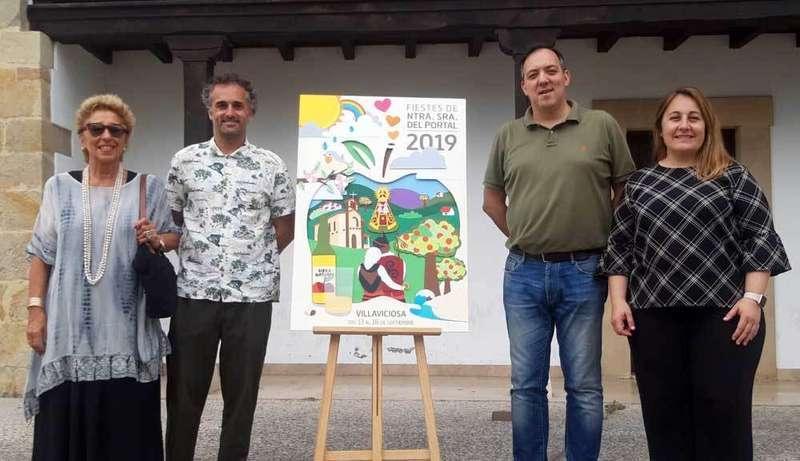 Daniel Fernández Jove firma el cartel anunciador de las Fiestas del Portal de Villaviciosa